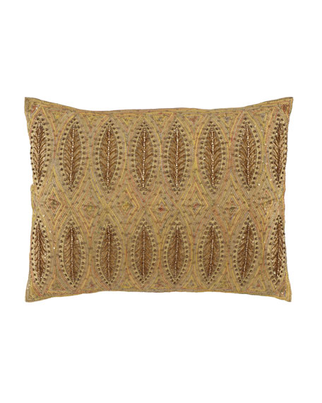 "Beaded/Sequined Leaf Pillow, 12"" x 16"""