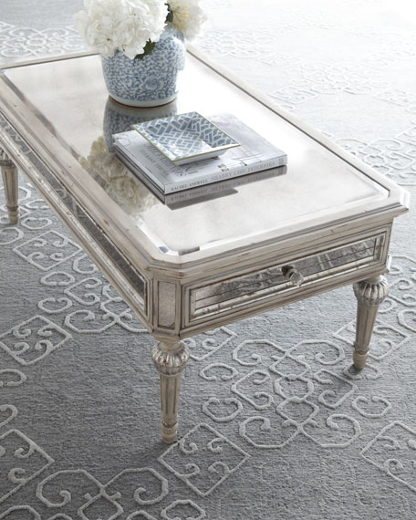 Dresden mirrored coffee table for Cream glass coffee table