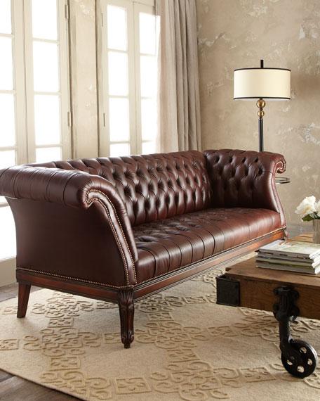 """Lariette"" Tufted Leather Sofa"