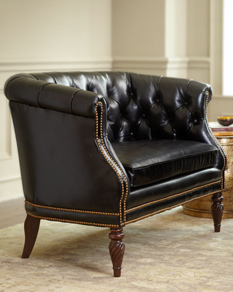 """Gables"" Tufted-Leather Settee"