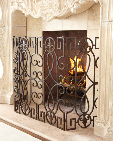 "Bronze ""Fleur-de-Lis"" Fireplace Screen"