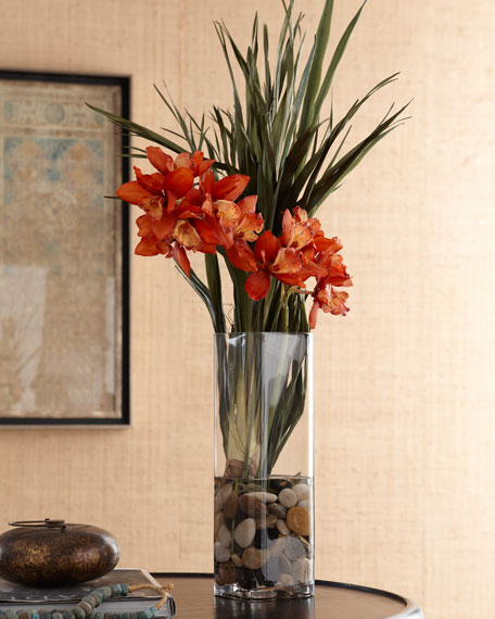 Red Orchid in Clear Vase