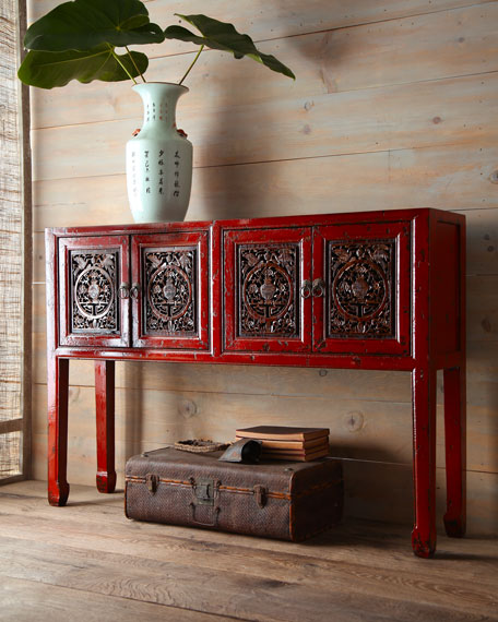 Antique Red Wooden Console