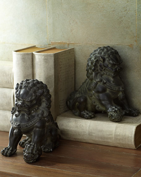 Two Antique Lion Statues