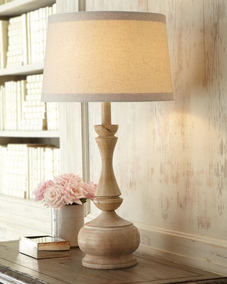 Carved Acacia Wood Lamp