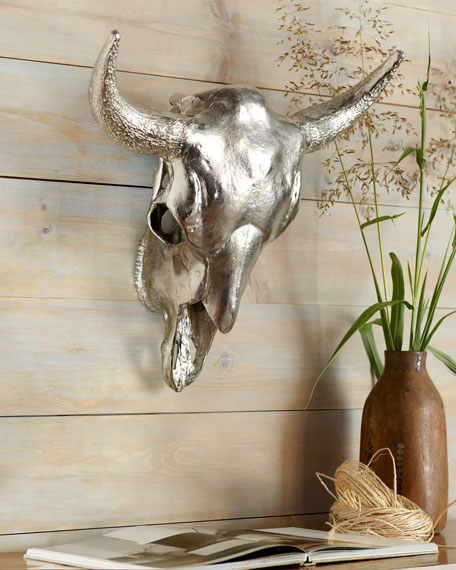 Silver Cow's Skull Wall Decor