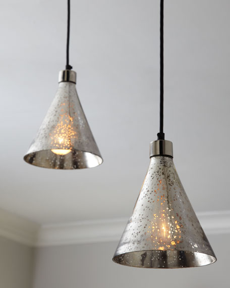 "Two Mini ""Funnel"" Pendant Lights"