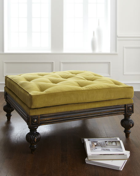 """Tilly"" Tufted Pillow-Top Ottoman"
