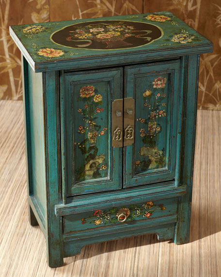 Antiqued Green Floral Cabinet