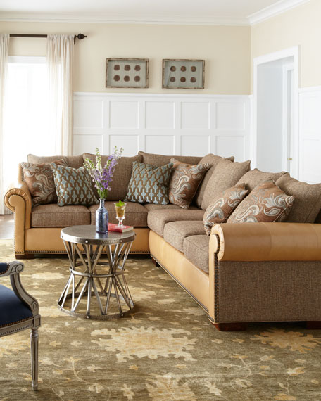 """Galena"" Leather & Fabric Sectional"