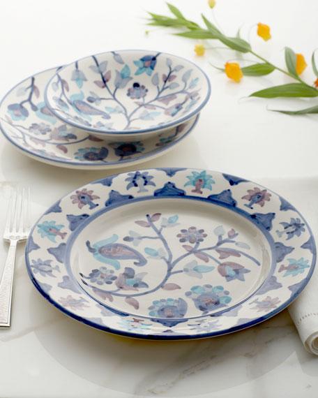 """12-Piece """"Ava"""" Blue Floral Dinnerware Service"""