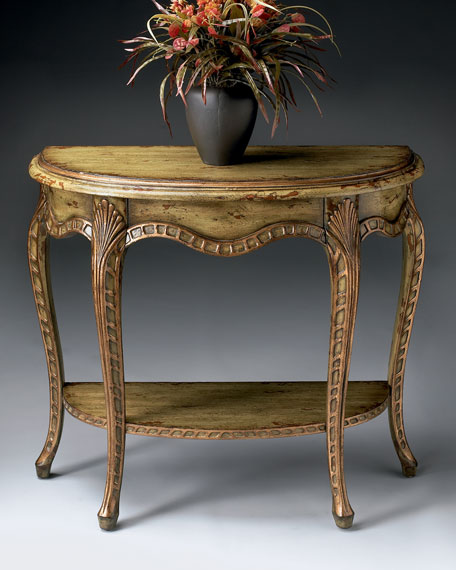 Hand-Painted Demilune Console