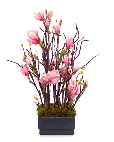 """""""Pink Magnolia"""" Faux Floral Arrangement"""