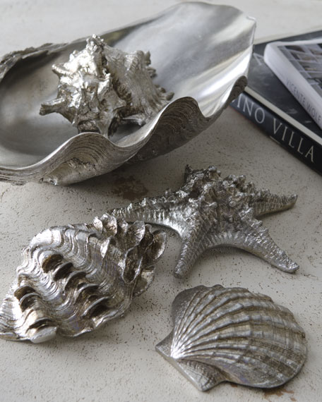 """Sea Life in Clam Shell Tray"" Table Decor"