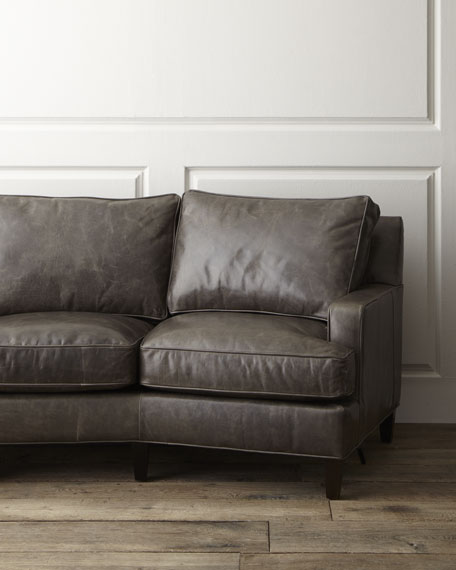 """Denley"" Crescent Leather Sofa"