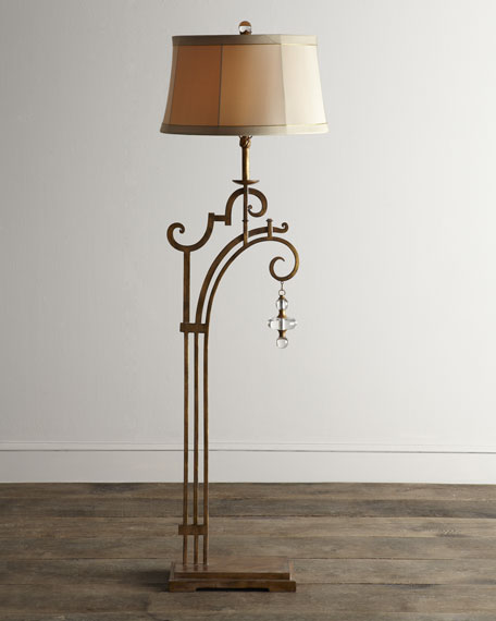 Golden Glass-Drop Floor Lamp