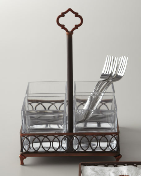 Pierced Copper Flatware Caddy