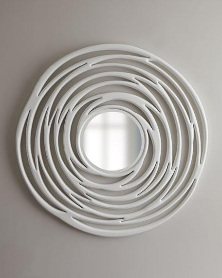 Abstract White Circular Mirror