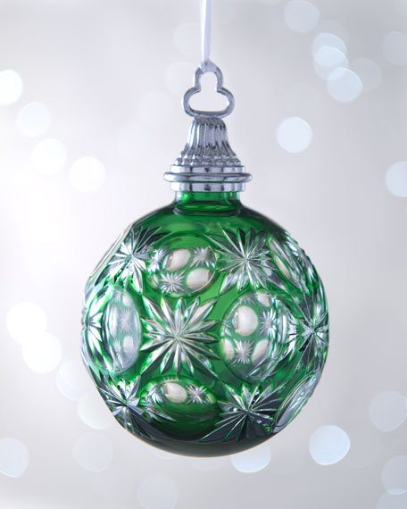 Emerald-Green Cased Ball Christmas Ornament