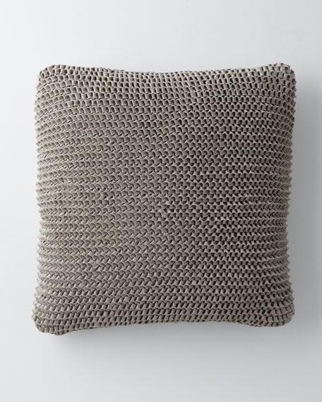 "Silver Linen Rag Knit Pillow, 20""Sq."