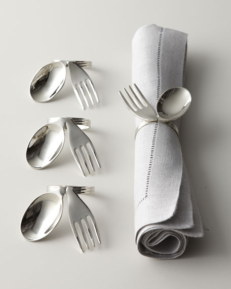 "Four ""Spoon & Fork"" Napkin Rings"