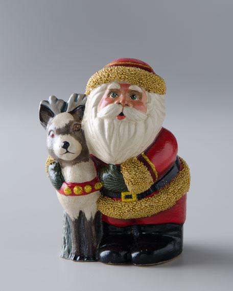 Santa Claus Hugging Reindeer