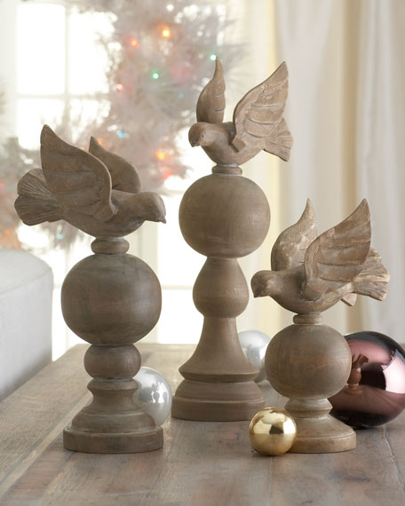 """Joyeux Noel"" Wooden Doves on Orbs"