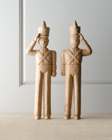 """Two """"Alpine"""" Wooden Toy Soldiers"""