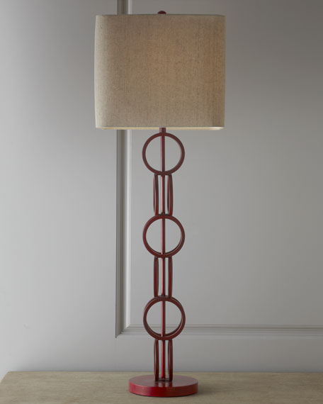Double-Ring Table Lamp with Square Shade
