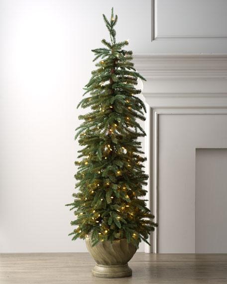 Lighted Skinny Tree in Planter