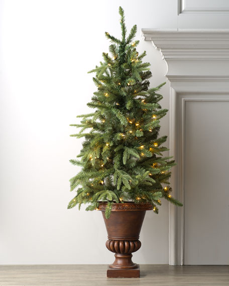 Lighted Tree in Urn