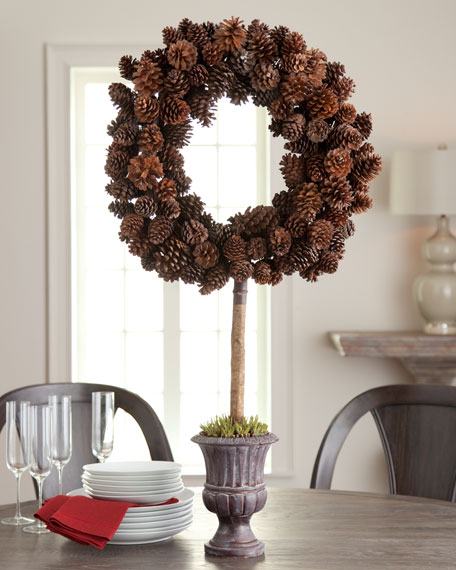 Pine Cone Wreath on Urn Stand