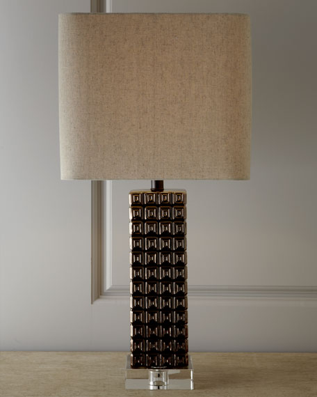 Bronze Ceramic Lamp with Crystal Base