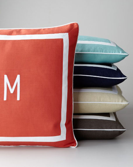 """Sunnyside"" Mitered-Border Pillow with Monogram"
