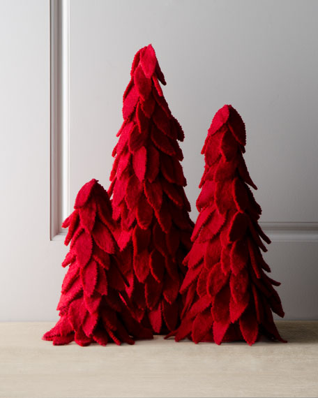 """Artisan"" Red Felt Christmas Trees"