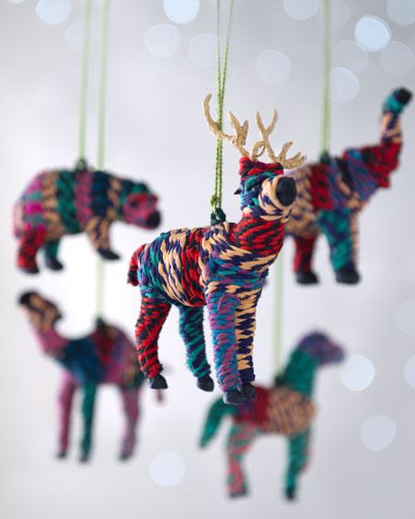 """""""Artisan"""" Hand-Wrapped Animal Christmas Ornaments"""