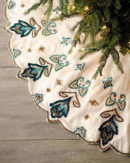 Kim seybert quot blue spruce royal gate christmas tree skirt