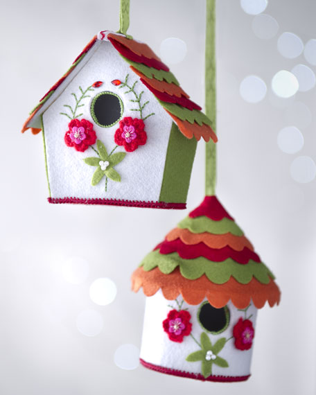"Two ""Artisan"" Birdhouse Christmas Ornaments"