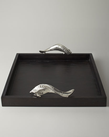 Wooden Tray with Horn-Shaped Handles