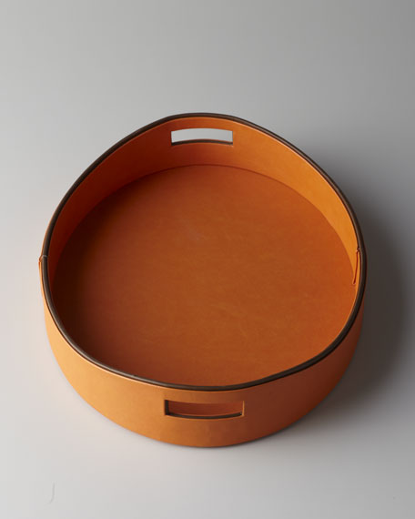 Orange Faux Leather Tray
