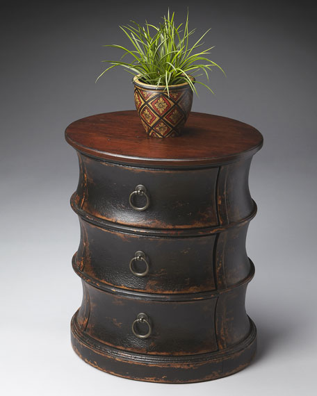 Three-Drawer Oval Drum Table