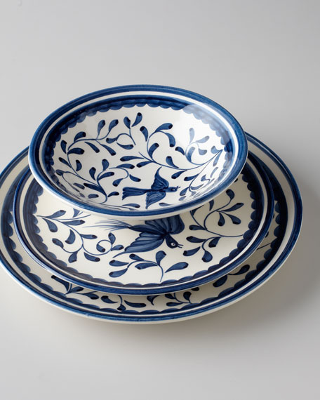 "12-Piece ""Blue Bird & Leaves"" Dinnerware Service"
