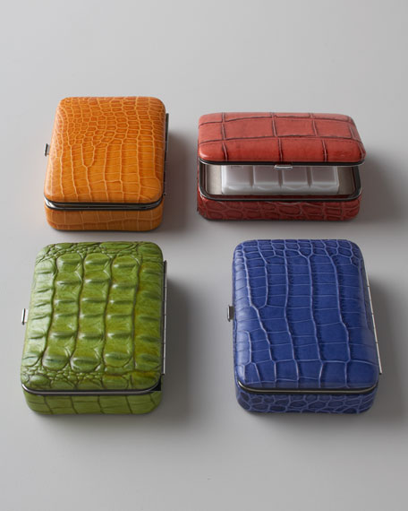Crocodile-Embossed Pillbox