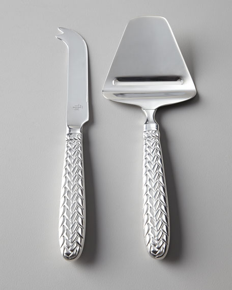 "Two-Piece ""Equestrian Braid"" Cheese Knife Set"