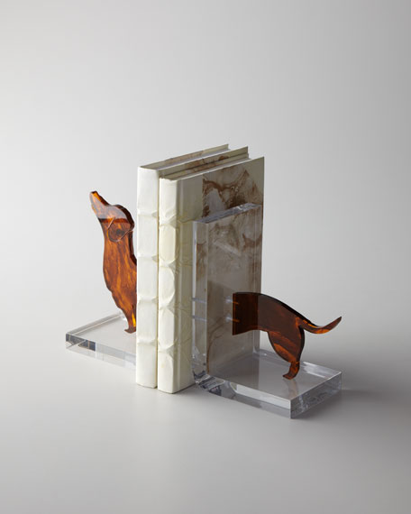 Lucite Dachshund Bookends