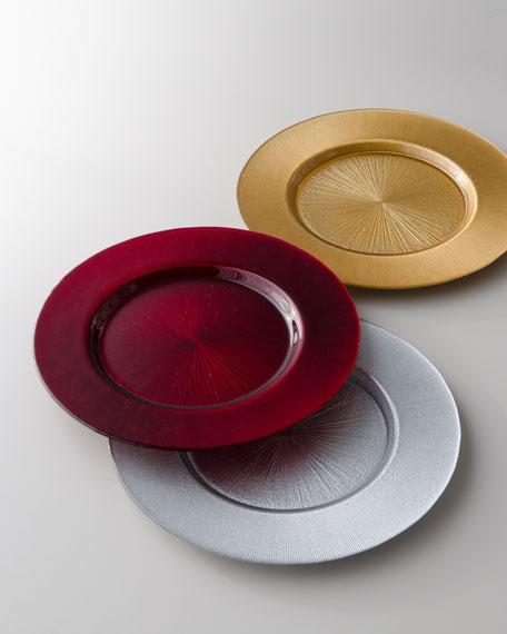 "Four ""Odak"" Glass Charger Plates"