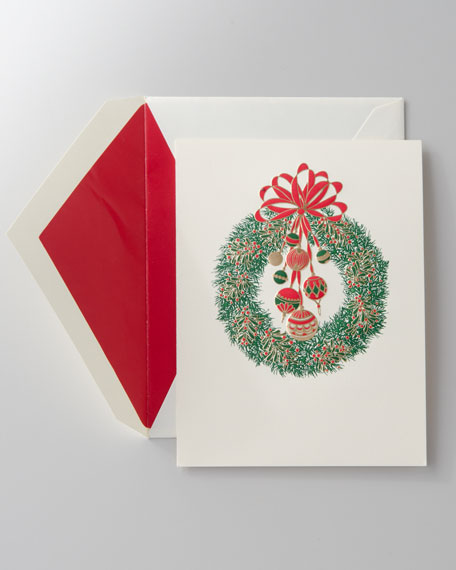 "50 Engraved ""Wreath"" Christmas Cards"
