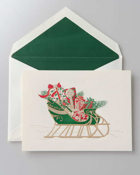 "50 Engraved ""Sleigh"" Christmas Cards"