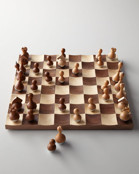 """""""Wobble"""" Solid Wood Chess Set"""