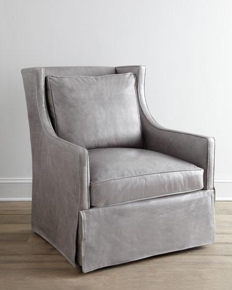 Lee Industries Quot Levona Quot Leather Swivel Chair